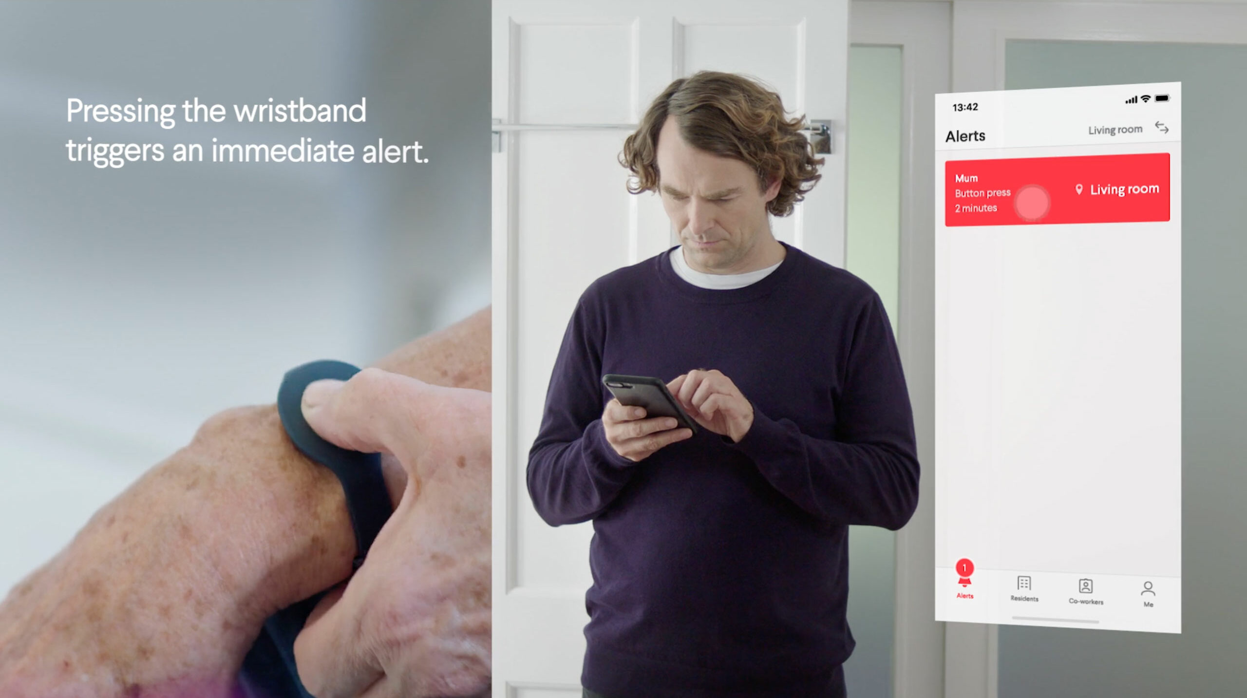 A man receiving a notification Button Pressed from his mum on his Nectarine Health mobile app