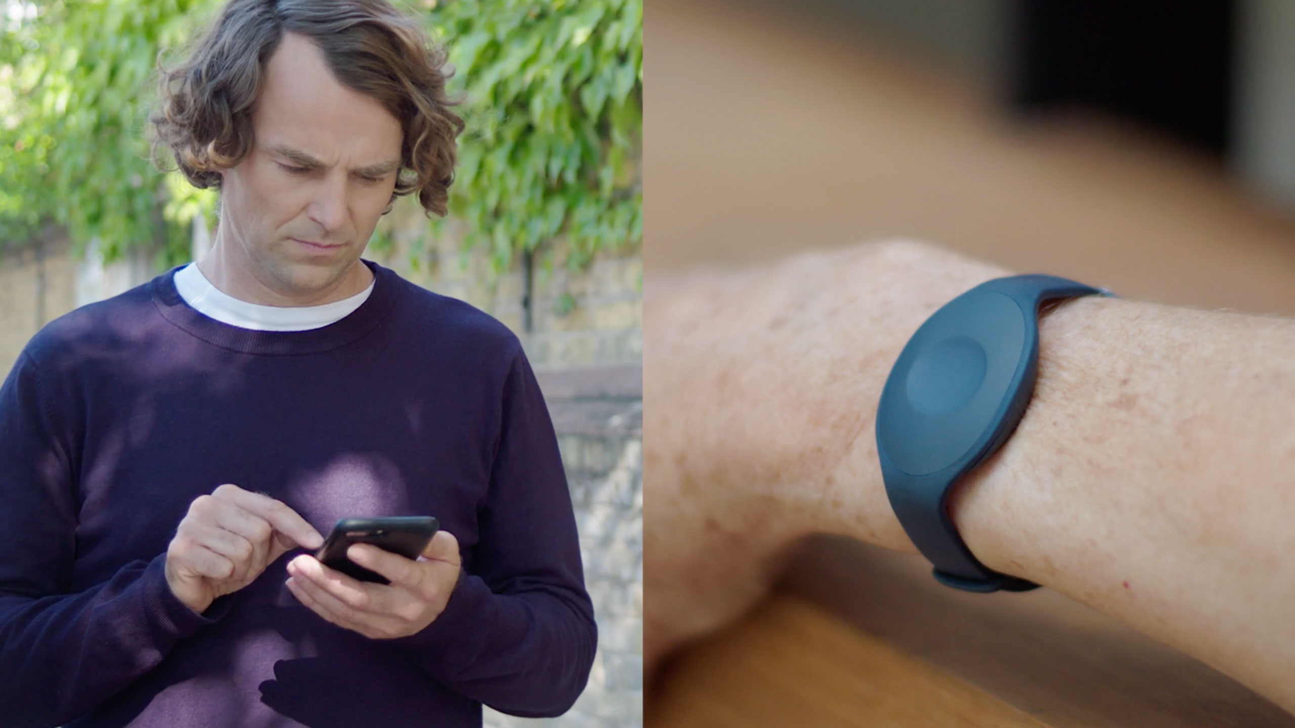 A split image. On the left, a caring son checking notifications in the Nectarine Health mobile app. On the right, his mum's wrist with an elegant Nectarine Health wristband